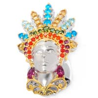 Michael Valitutti Palladium Silver Multi Brazilian Gemstone Carnaval Sculpted Portrait Ring