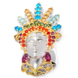 Michael Valitutti Palladium Silver Multi Brazilian Gemstone Carnaval Sculpted Portrait Ring