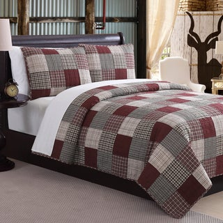 Mountain Home Ridgecrest II Red Fawn Patchwork 3-piece Quilt Set