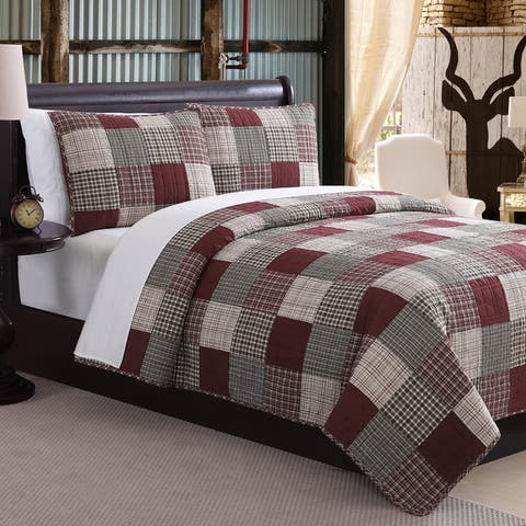 Mountain Ridge Ridgecrest Red Patchwork Cotton Quilt Set