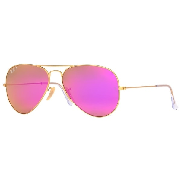 392542ce5e Ray-Ban Aviator RB3025 Unisex Gold Frame Polarized Cyclamen Flash 58mm Lens  Sunglasses