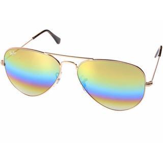 Ray-Ban Aviator Mineral Flash RB3025 Unisex Bronze-Copper Frame Gold Rainbow Flash 58mm Lens Sunglasses
