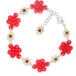 "Michael Valitutti Palladium Silver Asia Carved Red Quartz & Garnet Chinese Knot Link Bracelet-7.5"""