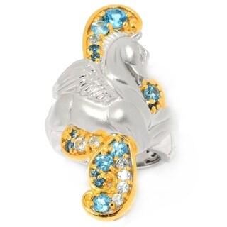 Michael Valitutti Palladium Silver Italy Swiss, London & Sky Blue Topaz Pegasus Ring