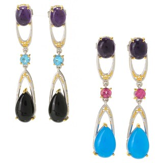 Michael Valitutti Palladium Silver African Amethyst & Multi Gemstone Dangle Earrings