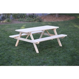 Pressure Treated Pine Unfinished Picnic Table with Attached Benches - 4,5,6 or 8 Foot