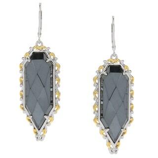 Michael Valitutti Palladium Silver Rose Cut Hematite Shield Drop Earrings