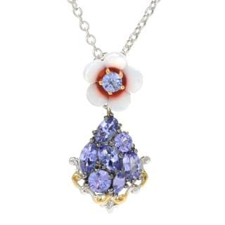 Michael Valitutti Palladium Silver Carved Mother-of-Pearl Flower & Tanzanite Pendant|https://ak1.ostkcdn.com/images/products/15371503/P21831750.jpg?impolicy=medium