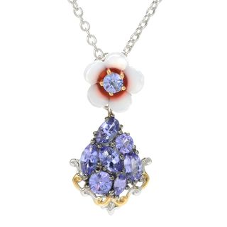 Michael Valitutti Palladium Silver Carved Mother-of-Pearl Flower & Tanzanite Pendant