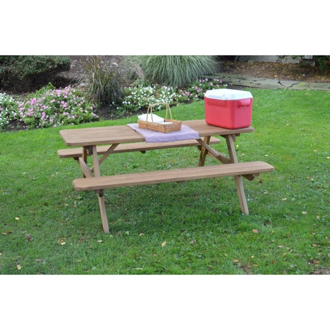 Pressure Treated Pine Picnic Table with Attached Benches Oak Stain - 4,5,6 or 8 Foot