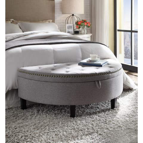 Chic Home Kelly Button Tufted Storage Ottoman, Grey