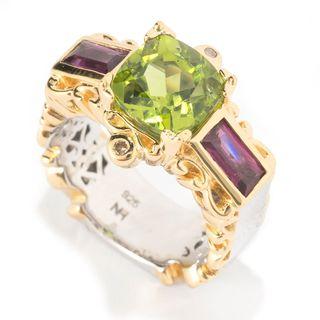 Michael Valitutti Palladium Silver Peridot, Rhodolite & Diamond Band Ring