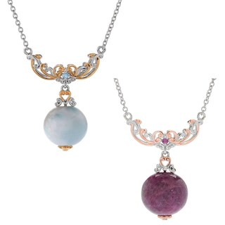 Michael Valitutti Palladium Silver Larimar Bead & Swiss Blue Topaz or Ruby Necklace (2 options available)