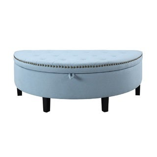 Chic Home Kelly Button Tufted Storage Ottoman, Light Blue