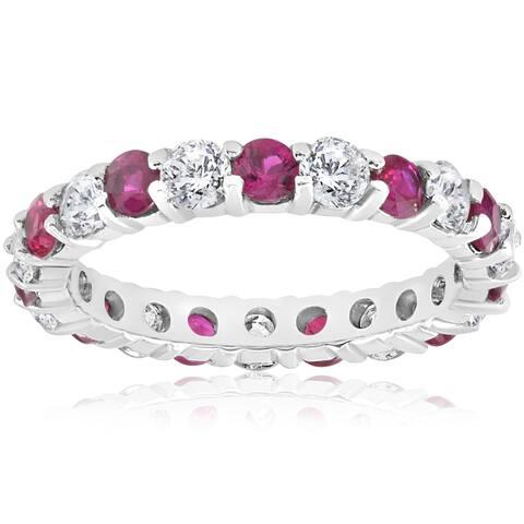 14K White Gold 2 ct TW Diamond & Ruby Womens Wedding Stackable Ring (I-J,I2-I3)
