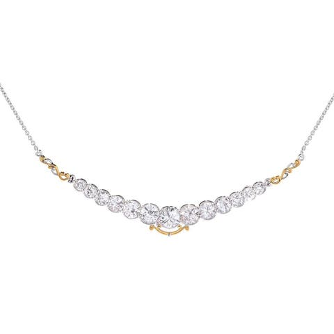 Michael Valitutti Palladium Silver Graduated White Zircon Necklace