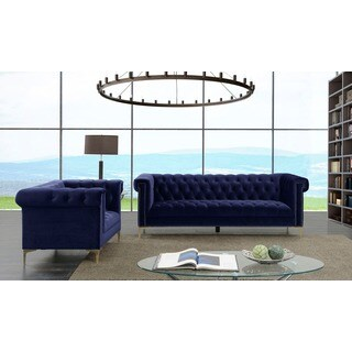 Chic Home Vanessa Velvet Goldtone Metal Y-leg Sofa, Purple