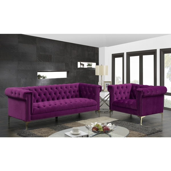 Chic Home Vanessa Velvet Goldtone Metal Y Leg Sofa Plum