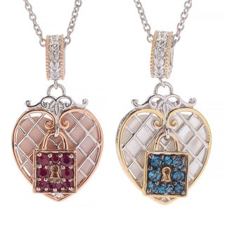 Michael Valitutti Palladium Silver Paris Love Locks Multi Gemstone Heart Charm Pendant