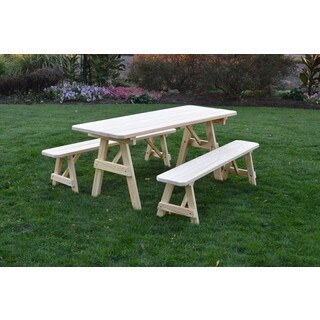 Pressure Treated Pine Unfinished Picnic Table with Detached Benches - 4,5,6 or 8 Foot