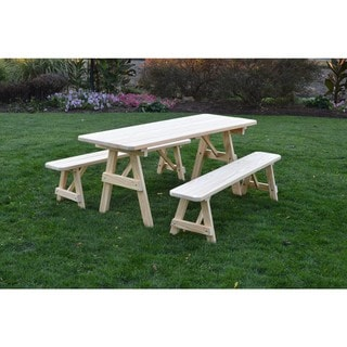 Link to Unfinished Picnic Table with Detached Benches in Pressure Treated Pine Similar Items in Patio Furniture