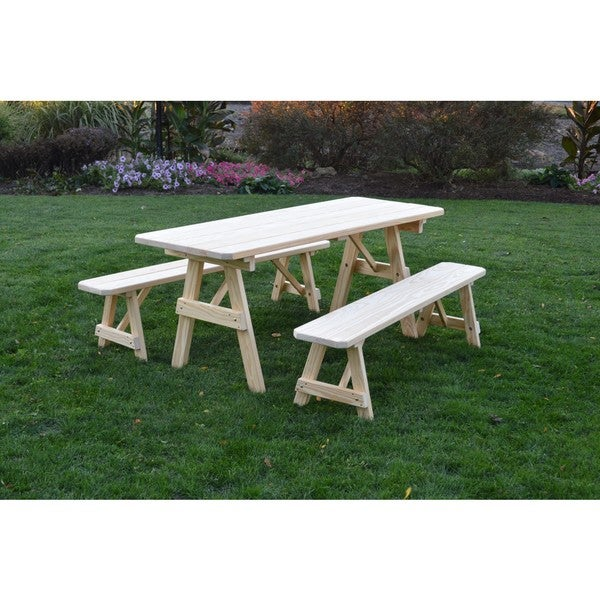 Pressure Treated Pine Unfinished Picnic Table With Detached Benches   4,5,6  Or