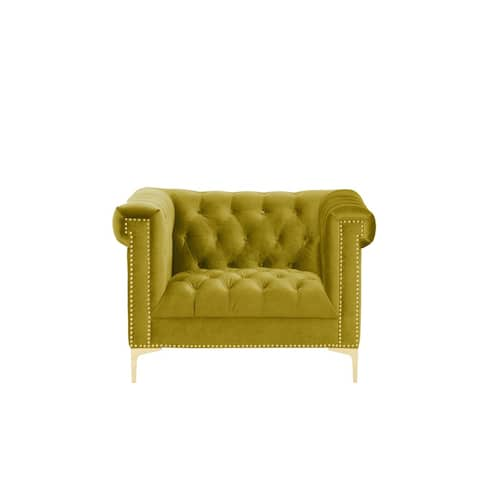 Chic Home Vanessa Button-tufted Goldtone Metal Y-leg Mustard Club Chair