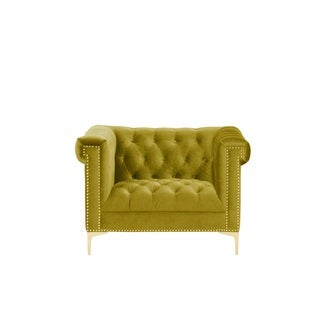 Chic Home Vanessa Button Tufted Goldtone Metal Y Leg Club Chair, Mustard  Green