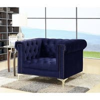 Chic Home Vanessa Button Tufted Goldtone Metal Y-leg Club Chair, Navy