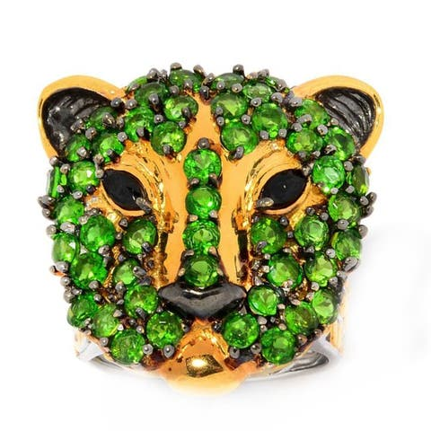 Michael Valitutti Palladium Silver Chrome Diopside & Black Spinel Panther Ring