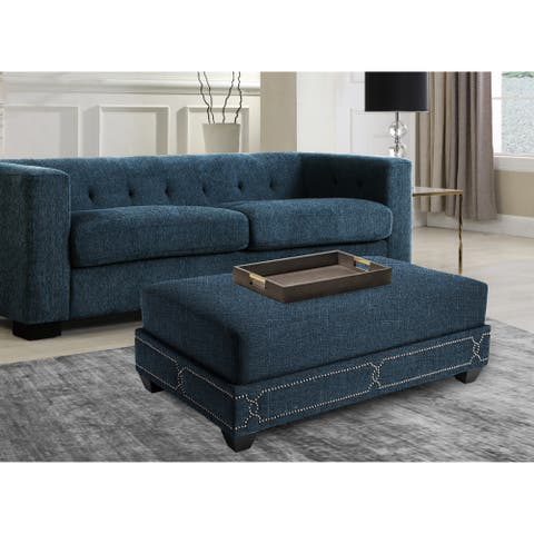 Chic Home Prezton Teal Nail Head Ottoman