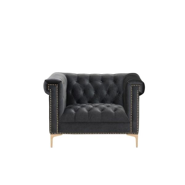 Chic Home Vanessa Button Tufted Goldtone Metal Y Leg Club Chair,Dark Grey