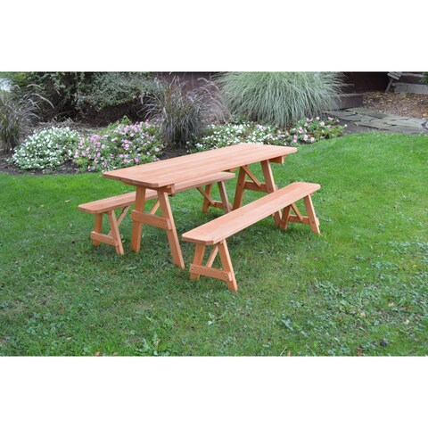 Pressure Treated Pine Picnic Table with Detached Benches Cedar Stain- 4,5,6 or 8 Foot