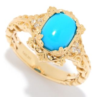 Michael Valitutti 14K Gold Sleeping Beauty Turquoise & Diamond Ring (2 options available)