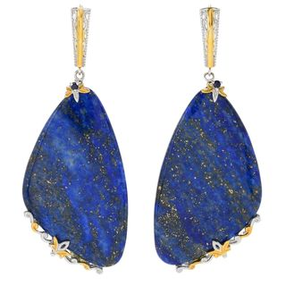 Michael Valitutti Palladium Silver Lapis Lazuli & Sapphire Drop Earrings