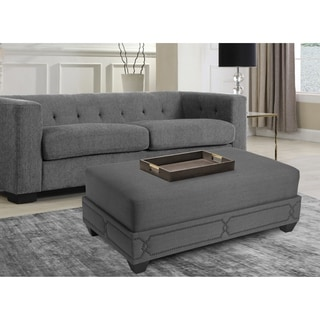 Chic Home Prezton Nail head Ottoman, Grey