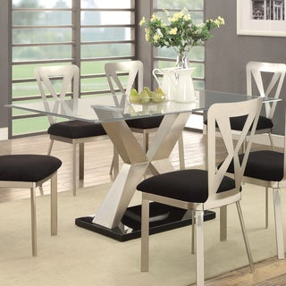 Furniture of America Gillion Modern Metal X-base Glass Top Satin Plated Dining Table - Silver
