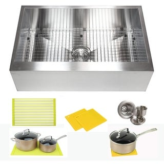 Ariel Stainless Steel 30-inch Farmhouse Single-bowl Flat-apron Kitchen Sink
