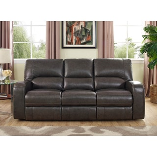Hydeline by Amax Newcastle Top Grain Leather Power Reclining Sofa with Drop Down Table and Drawer