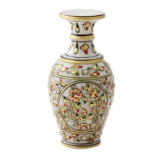 Marble Decorative Vase, 'Rajasthani Flowers' (India)