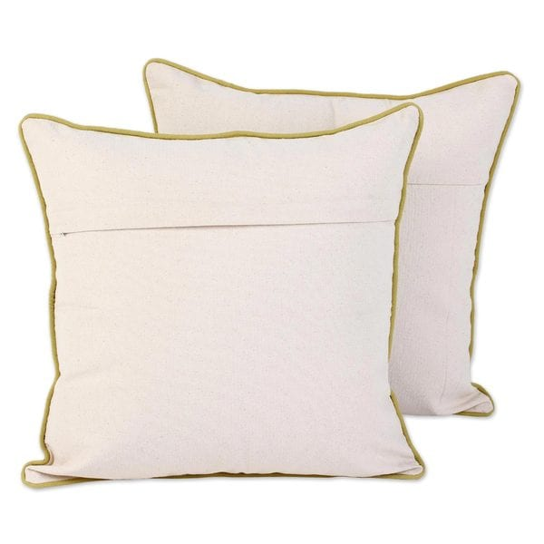 Handmade Pair of Cotton Cushion Covers Yellow Indian Peony (India)