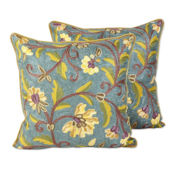 Pair of Cotton Cushion Covers, 'Yellow Indian Peony' (India)