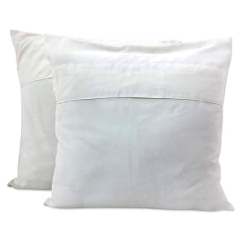 Handmade Pair of Cotton Cushion Covers Chinar Tree (India)