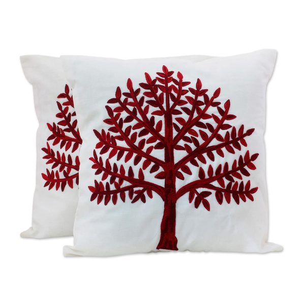 Pair of Cotton Cushion Covers, 'Chinar Tree' (India)