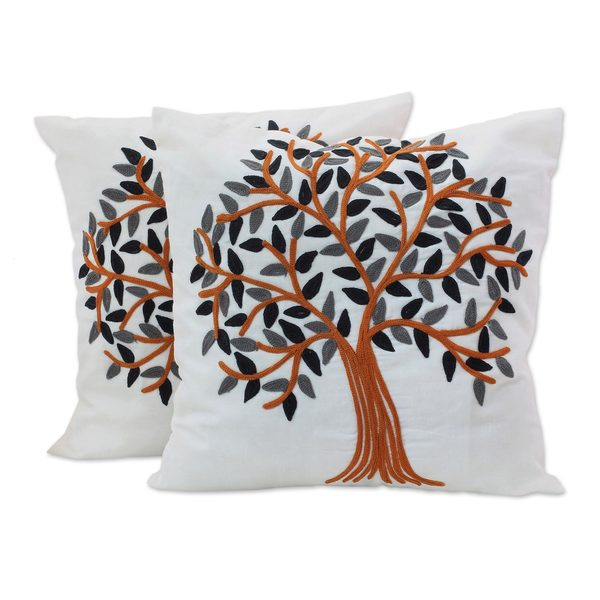 Pair of Cotton Cushion Covers, 'Summer Quiet' (India)