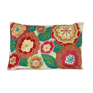Embroidered Cushion Cover, 'Festival of Flowers' (India)