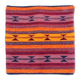 Wool and Cotton Cushion Cover, 'Butterfly Dancers' (Mexico)