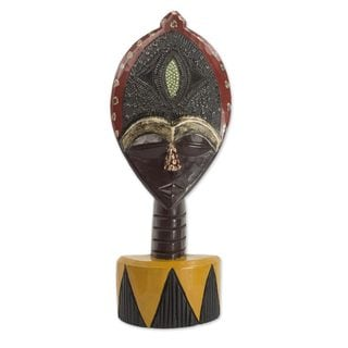 African Wood Sculpture, 'Biakoye Mask' (Ghana)