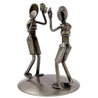 Recycled Auto Part Sculpture, 'Rustic Boxing Match' (Mexico)