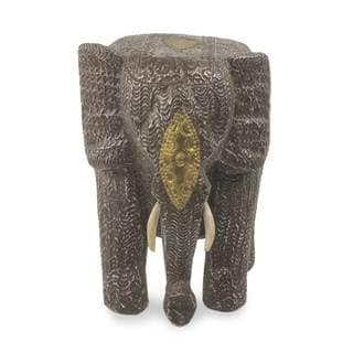 Wood Statuette, 'Mighty African Elephant' (Ghana)